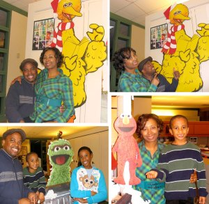 Johnson family at Sesame St for the Holidays