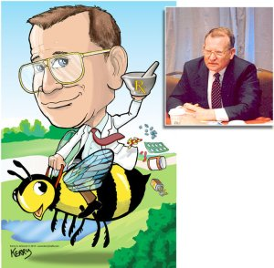 Pharamcist reading bumblebee by Kerry G. Johnson