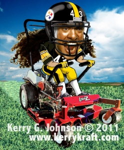 Troy Polamalu caricature by Kerry G. Johnson