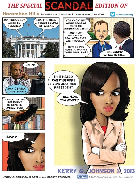 Scandal cartoon by Kerry G. Johnson